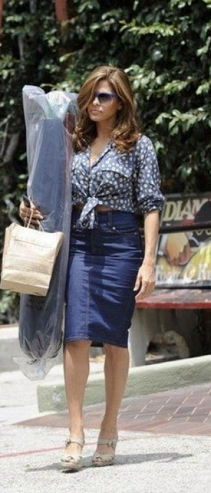 Eva Mendes  added a floral print blouse from ASOS and her go-to Christian Louboutin wedge espadrilles.