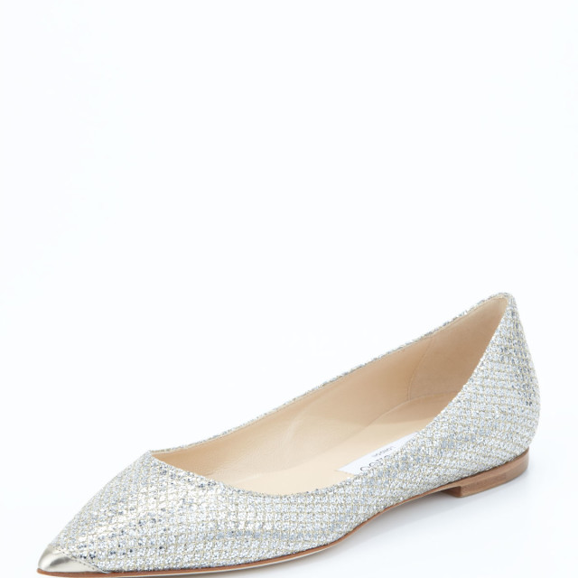 Jimmy Choo Alina Point-Toe Glitter Flat