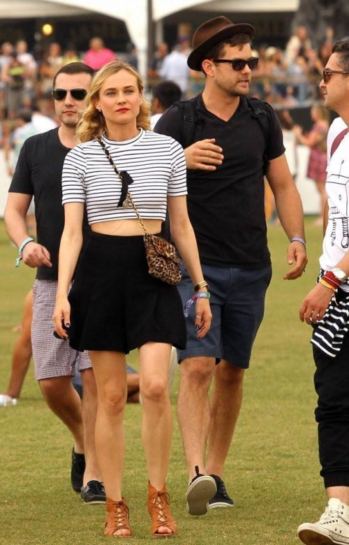 Diane Kruger apparently got the memo at last month's Coachella Festival. There, she slipped a leopard-print bag over a cropped striped shirt.