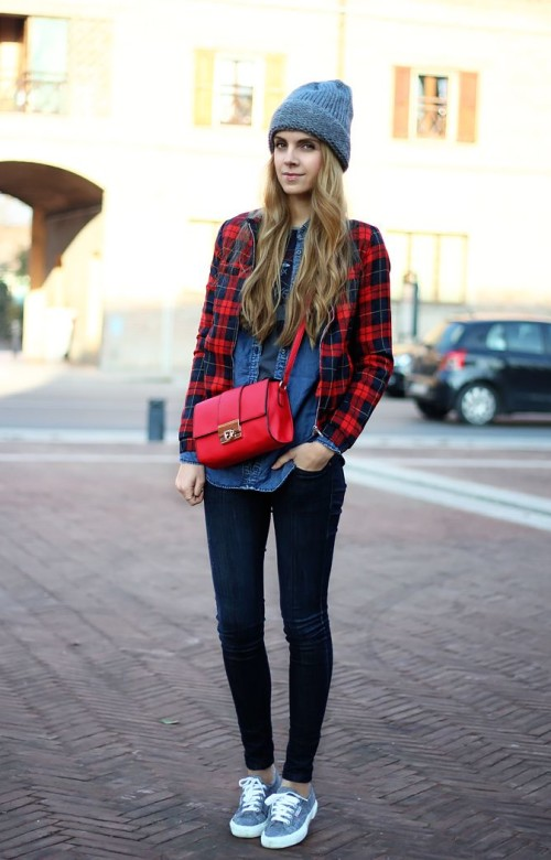 denim on denim, tartan bomber jacket, oversized beanie, superga sneakers, red crossbody bag, fall outfit