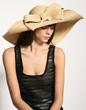 Helene Berman Bow Straw Floppy Hat