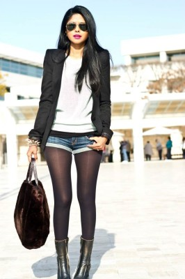 Sporty looked with black stockings and a cool outfit like this.