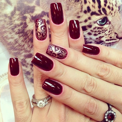Burgundy Nail Art Design Ideas