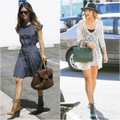 Best Celebrity Looks Dress With Ankle Boots