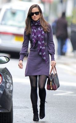 Purple long sleeve dress, black tights, ankle boots, patterned scarf (Pippa Middleton)