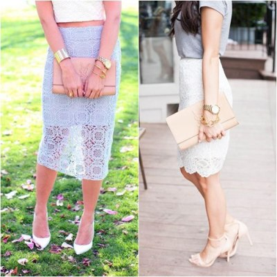 Trend Outfit With Lace Pencil Skirt