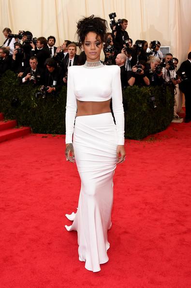 Rihanna White Long Skirt and Crop Top