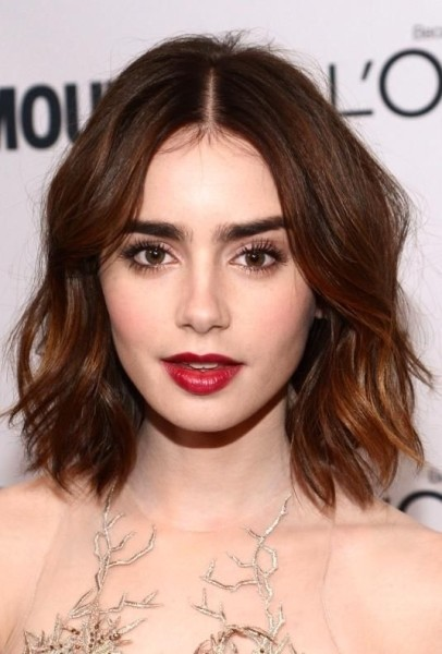 Lily Collins  Short Bob Hairstyle