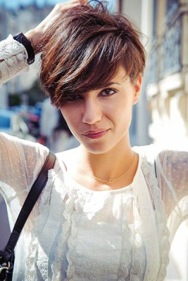 A pixie cut with long bangs