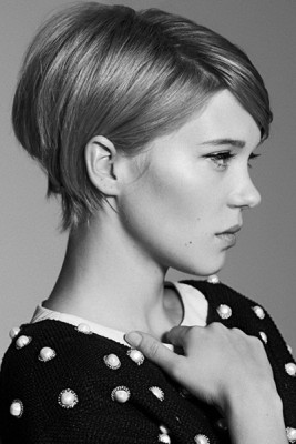 A short cropped bob with long bangs and volume