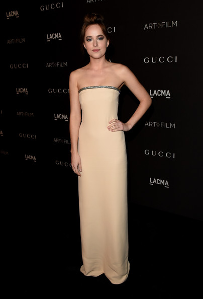 Dakota Johnson Strapless Dress by gucci