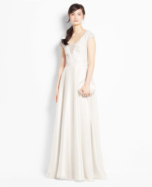 Ann Taylor Lace Cap Sleeve Wedding Dress