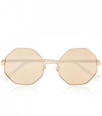 Octagon-Frame Metal Mirrored Sunglasses