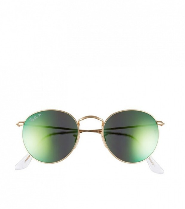 Ray-Ban 50mm Round Polarized Sunglasses