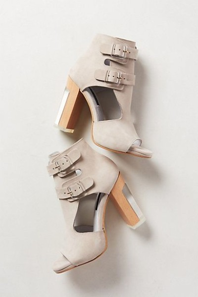 Solaria Heels - anthropologie.com Soft gray, open bootie/sandal concept with a ridiculous block heel I love.