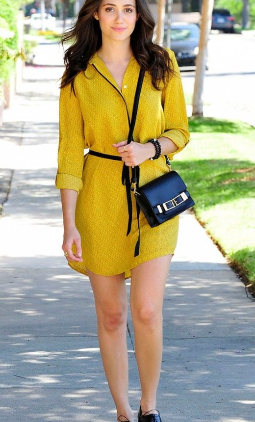 Emmy Rossum looks adorable in this yellow, summery frock
