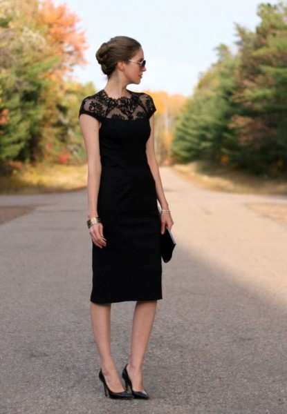 Black Dress For Wedding Guest Outfit