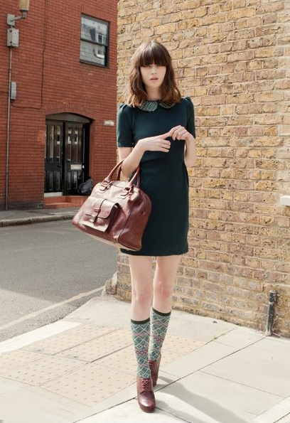 Closet staples brought to a whole new level with the addition of a collar and knee-high socks.