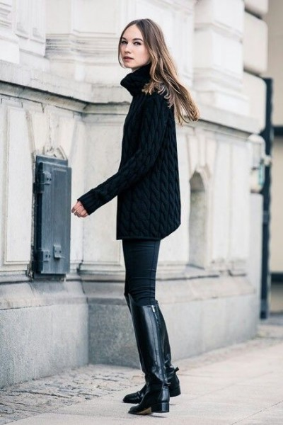 Black oversize turtleneck sweater, skinny black leggings, knee high black riding boots with low heel