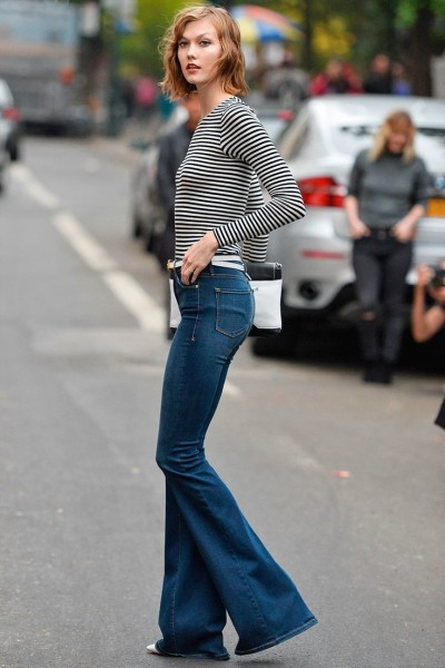 Flared jeans making a come back on the streets represents a pendulum swing from the extremely fitted skinny jeans that dominated for the last decade.