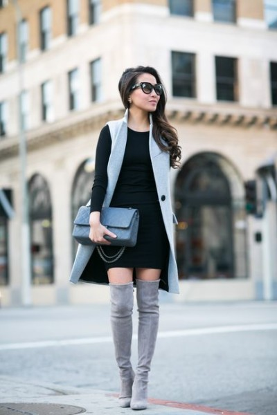Knit dress & High boots