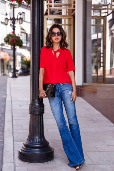 Red Shirt with Flared Jeans