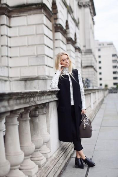 Sandra in Zara sleeveless waistcoat
