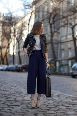 black leather jacket + navy blue, cropped wide leg pants worn with pointy toe ankle strap heels