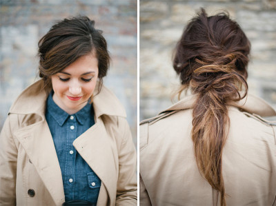 deconstructed ponytail that gives a messy