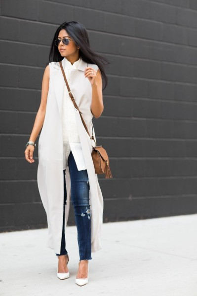 street chic style - summer outfit ideas - spring outfit ideas - denim skinnies + white stilettos + white sleeveless duster coat + white sleeveless shirt + brown crossbody bag + aviators