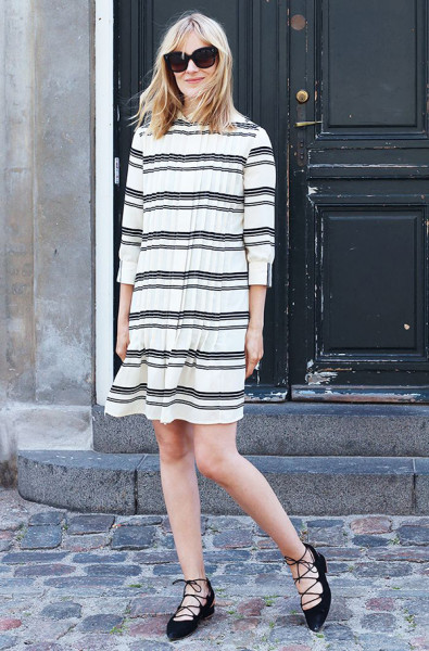 Enjoy your dresses without tights until it gets really cold. Long-sleeved ones work great for fall and look awesome with lace-up flats.