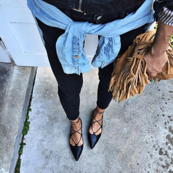 Looking like our MIA Anamarie lace-up flats!