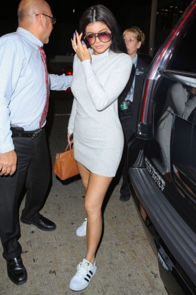 Kylie Jenner - love the turtle neck dress and all stars