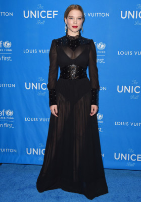 Lea Seydoux fittingly wore a high neck sheer Louis Vuitton gown- as the French star was just named the new face of the brand- and finished her look with a bodysuit under the Victorian-inspired number.