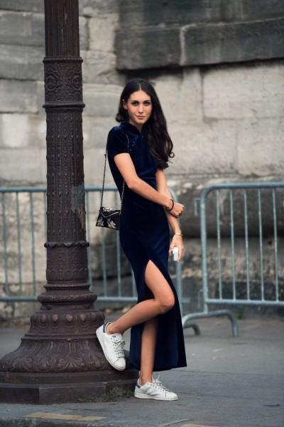 Navy Velvet dress, sneakers and mini purse