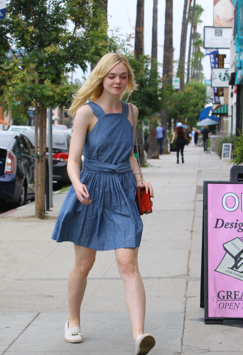Wearing a denim dress out in L.A.
