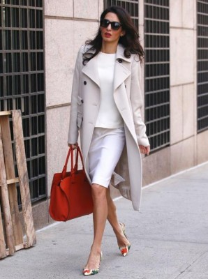 Amal Clooney looks effortlessly chic in a head-to-toe monochromatic look. via InStyle