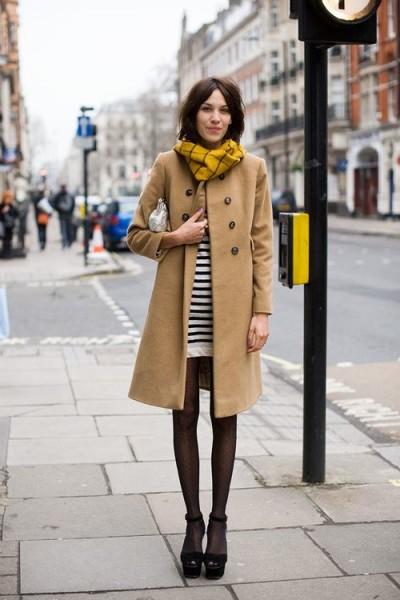 Yellow Plaid Infinity Scarf Camel Coat Striped Dress