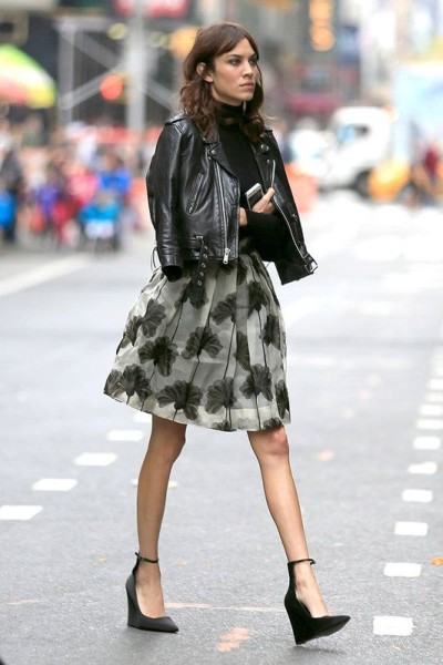 leather biker jacket  midi skirt (Alexa Chung)