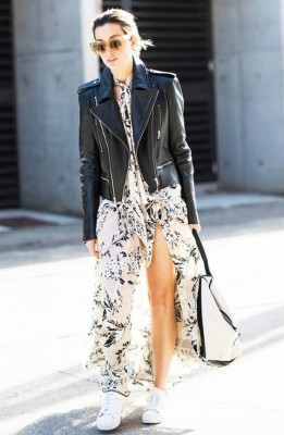 A side-slit maxi dress paired with a moto jacket + sneakers = perfection.