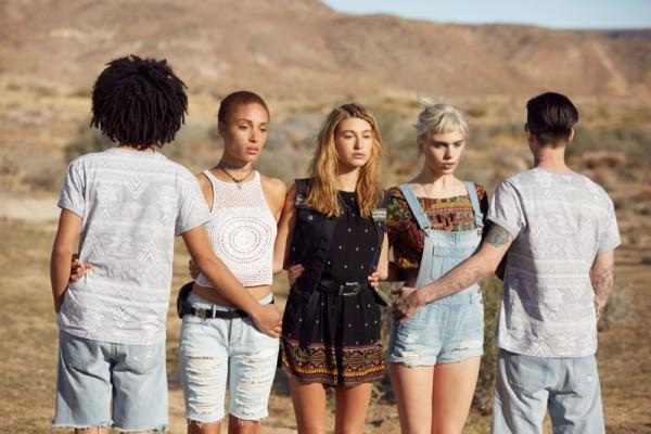 Adwoa Aboah, Hailey Baldwin and Julia Cumming on set of the H&M x Coachella 2016 campaign