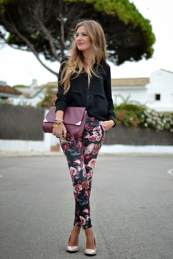 Floral pants with a solid color blouse