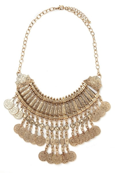 Forever 21 Antique Gold Coin Statement Necklace $14.90