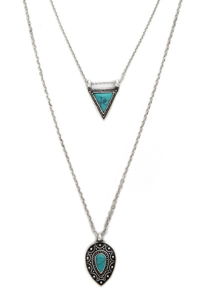 Forever 21 Layered Faux Stone Necklace $5.90