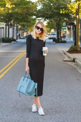 Knit Midi Dress and Sneakers