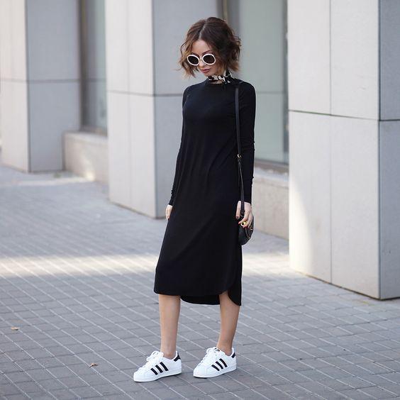 Sonya Karamazova - Adidas Originals Superstar Sneakers, Asos Dress via Lookbook