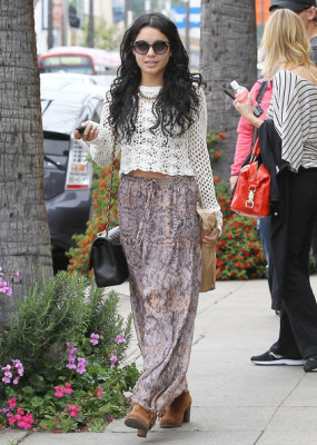 The actress kept it low-key in a long-sleeved white crop top and drawstring maxi while out to lunch.