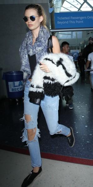Victoria's Secret Angel Behati Prinsloo arrives on a flight to Los Angeles International Airport (LAX)  Featuring: Behati Prinsloo Where: Los Angeles, California, United States When: 11 Nov 2015 Credit: WENN.com