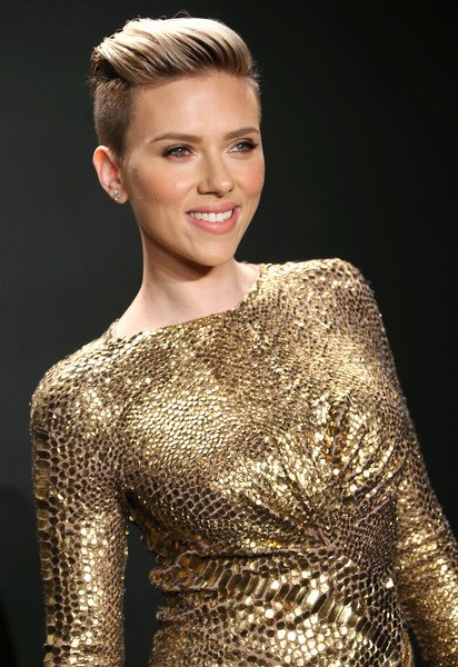Scarlett Johansson showed off her undercut from all angles with a brushed-up and -back 'do.