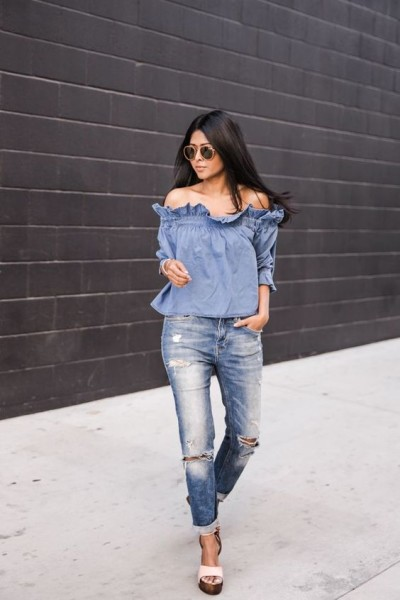 DENIM OFF SHOULDER
